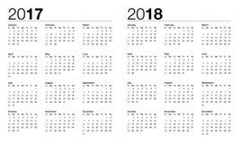 Kalender för 2017 och 2018 Arkivfoto