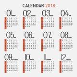 Kalender för 2018 och en vit bakgrund Royaltyfri Illustrationer