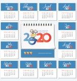 Kalender för 2020 och mus med ost stock illustrationer
