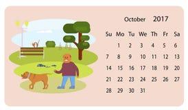 Kalender 2018 för Oktober vektor illustrationer