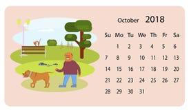 Kalender 2018 för Oktober royaltyfri illustrationer