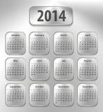 Kalender för 2014 på borstade metallminnestavlor Arkivbild