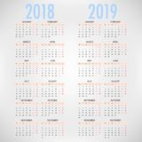 Kalender för 2018 2019 på grå bakgrund kantlagrar låter vara vektorn för oakbandmallen stock illustrationer
