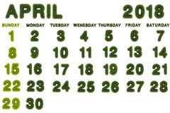 Kalender för 2018 på vit bakgrund Arkivbild