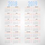 Kalender för 2018 2019 på vit bakgrund kantlagrar låter vara vektorn för oakbandmallen vektor illustrationer