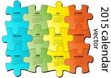 kalender för 2015 pussel stock illustrationer