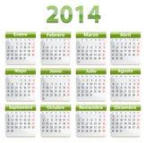 Kalender för 2014 spanjor Royaltyfria Bilder