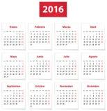 Kalender för 2016 spanjor Arkivfoto
