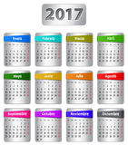Kalender för 2017 spanjor Arkivfoto