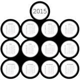 kalender för 2015 svart cirklar för kontor vektor illustrationer