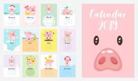 kalender 2019 för svinårsmånadstidning vektor illustrationer