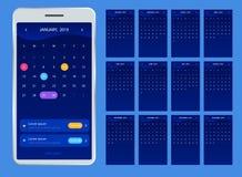 Kalender 2019 för telefon Vektorkalender för 2019 år Uppsättning av 12 kalendersidor Färgrik uppsättning Veckastarter på söndag stock illustrationer