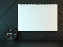 Kalender för tom vägg med våren 3d stock illustrationer