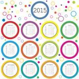 Kalender 2015 för ungar med kulöra cirklar vektor illustrationer