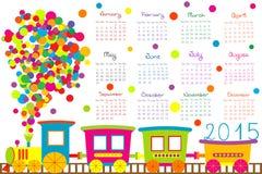 kalender 2015 för ungar med tecknad filmdrevet royaltyfri illustrationer