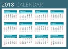 Kalender för 2018 Veckan startar söndag Enkel vektordesign vektor illustrationer
