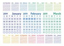 Kalender 2019 Kalender för vektorfärgengelska Januari Februari, vektor illustrationer