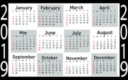 Kalender för vektorillustrationen 2019 vektor illustrationer