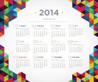 Kalender 2014 för vektormalldesign Royaltyfria Foton