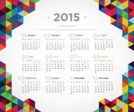 Kalender 2015 för vektormalldesign Royaltyfri Bild