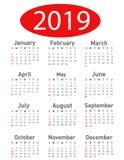 Kalender för vektorn 2019 vektor illustrationer