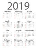 Kalender för vektorn 2019 stock illustrationer