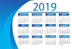 Kalender för vektorn 2019 royaltyfri illustrationer