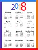 Kalender für 2018 Stockbilder