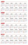 Kalender für 2007, 2008, 2009 und 2010 Lizenzfreie Stockfotos
