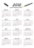Kalender für 2012 auf Deutsch Lizenzfreies Stockfoto