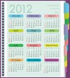 Kalender für 2012. Die Wochenanfänge mit Sonntag. Di Stockfotografie