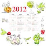 Kalender für 2012 mit Gemüse Lizenzfreie Stockfotos
