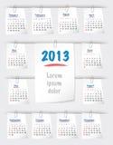 Kalender für 2013 auf klebrigen Anmerkungen Lizenzfreie Stockfotos
