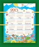 Kalender für 2013. Die Wochenanfänge mit Sonntag. SU Stockbild