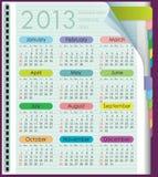 Kalender für 2013. Wochenanfänge am Sonntag vektor abbildung