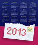 Kalender für 2013. Wochenanfänge am Sonntag. Das scho Stockfoto