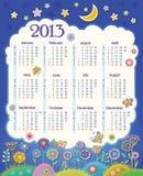 Kalender für 2013. Wolke im nächtlichen Himmel. Childre lizenzfreie abbildung