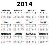 Kalender für 2014 Lizenzfreie Stockbilder