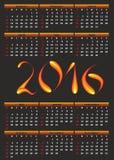 Kalender für 2016 Lizenzfreie Stockbilder