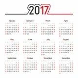 Kalender für 2017 Lizenzfreie Abbildung