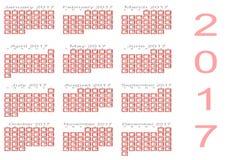 Kalender für 2017 Lizenzfreie Stockfotos