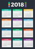 Kalender für 2018 Lizenzfreie Abbildung
