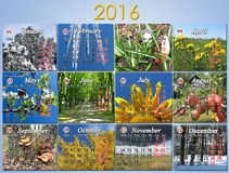 Kalender für 2016 auf englisch mit Foto für jeden Monat Stockfoto