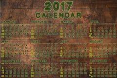 Kalender für 2017 auf hölzernem Hintergrund Stockbilder