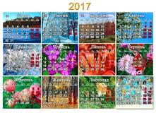 Kalender für 2017 auf Ukrainisch mit Foto zwölf der Natur Lizenzfreies Stockbild