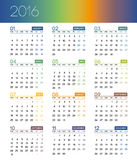 Kalender für 2016 auf weißem Hintergrund Woche beginnt Montag Lizenzfreie Stockfotos