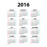 Kalender für 2016 auf weißem Hintergrund Woche beginnt Montag Einfache Vektor-Schablone Lizenzfreie Stockfotos