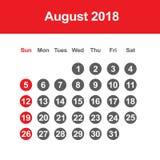 Kalender für August 2018 Lizenzfreies Stockfoto
