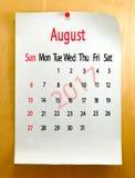 Kalender für August 2017-Nahaufnahme Stockbild