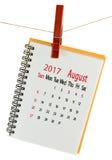 Kalender für August 2017-Nahaufnahme Stockfotografie